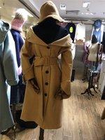 belted tweed coat - 2016 European station new single shoulder lapel long sleeved single breasted medium length belt woolen coat it coat