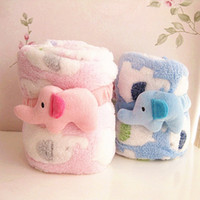 Wholesale 95 CM blue pink Animal Elephant Quilts Infant Boys Girls Winter Blankets Baby Children Velvet Warmth Cartoon Quilts