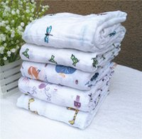 Wholesale aden anais cotton baby swaddle in big size quot x47 quot baby bedding blanket soft baby towel blanket cute cartoon animal printing