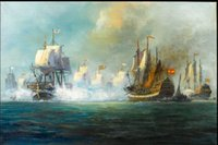 battle paintings - big sail boats The Battle of Trafalgar OCEAN Pure Hand painted Seascape Art oil painting On Canvas in any size customized