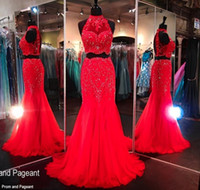 beaded tops for evening wear - Luxury Two Piece Evening Dress High Neck Crop Top Arabic Dresses Evening Wear Mermaid Crystal Beaded Red Tulle Pageant Gowns for Women