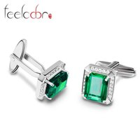 Wholesale Feelcolor Fashion ct Nano Russian Emerald Cufflinks For Men Solid Sterling Silver High Quality Engagement Wedding Jewelry