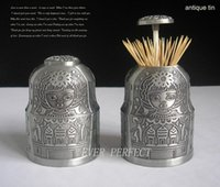 Wholesale Vintage embossed metal toothpick holder tooth pick holder box silver and bronze
