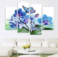 orchid wall decor - Beautiful butterfly orchid flowers printed on canvas for living room home decor wall art oil painting no frame