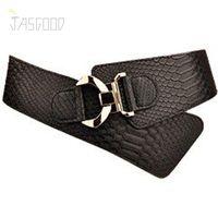 Wholesale Colorful Stretch Belts - JasGood Luxury Women Wide Decorative Waist Elastic Stretch Adjustable Belts Fashion Snake Pattern Geometric Straps Colorful Women Belts