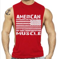 Wholesale Men s Muscle American flag Printing Vest Multicolor Comfortable Gym Exercise Tops