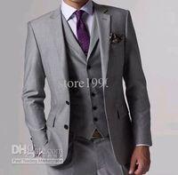 Wholesale Slim Fit Blazer Grey Groom Tuxedos Best Man Notch Lapel Groomsmen Men Wedding Suits For Men Jacket Pants Tie Vest