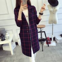 best women s sweaters - 2016 Autumn New Arrival Korea Style Loose Plate Lapel Neck Plaid Sweater Best Quality Cardigan Sweater Colors Sizes
