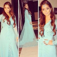 arab girls - On Sale Charming Blue Tulle Girls Party Dress Floor Length Long Sleeves A Line Evening Dress New Arab Beads V Neck Adults Dress