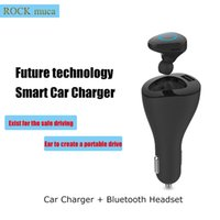 Wholesale Bluetooth Car Speakerphone Wireless Bluetooth headset Earphone with Car Charger BT V4 Mic Noise canceling Hansfree Smart for iphone7