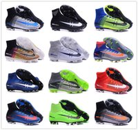 Wholesale Kids Soccer Cleats CR7 Cristiano Ronaldo Mens Mercurial Superfly V FG AF Football Boots Women High Top Soccer Sneakers Shoes Youth Turf Pink