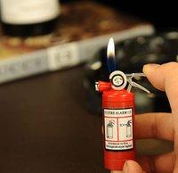 Precio de Fire extinguisher-Mini extintor estilo de forma Gas butano Jet encendedor de cigarrillos cigarro con linterna LED recargables encendedor de venta No hay gas