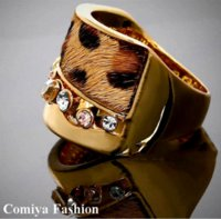 big dramas - Big promotions anel de ouro k Gold Leopard Print Fur Rings gold filled ring korean drama hot fashion ring punk jewelry