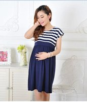 Wholesale Lace Home Dress - New Women Long Maternity Dresses for Pregnant Women Loose Clothing Maternity Fashion Stripe Home Cotton Mother Clothes Navy Blue