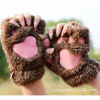 Wholesale Winter Fluffy Bear Cat Plush Paw Claw Gloves Novelty Halloween Soft Toweling Half Covered Women s Gloves Mittens