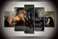 Конные фотографии Цены-5 шт HD Печатный черно-коричневый любовь лошадь Картина Печать холст декор комнаты печать плаката картина украшения холст таблица