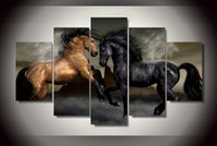 More Panel Oil Painting Abstract 5 Piece HD Printed black brown love horse Painting Canvas Print room decor print poster picture canvas tableau decoration