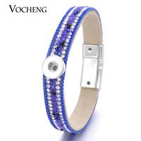 achat en gros de aimants pour fermoirs bijoux-VOCHENG NOOSA 7 couleurs Bracelet en cuir incrusté Colorful chaîne Cristal Métal aimant Fermoir petit 12mm snap Bijoux NN-463