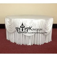 Wholesale Nice Looking Ice Silk Table Skirt For Wedding Decoration White Color