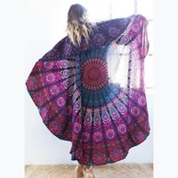 Wholesale Round Beach Towel Bohemian Style Chiffon Fabric cm Beach Towels Round Printed Serviette Covers for Summer