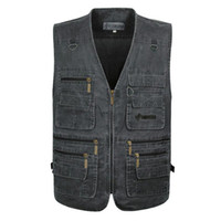 Wholesale Collared Military Vest - Men's Vests Casual Sleeveless Jacket Coat Army Military Traveler Shooting Vest Plus Big Size XL-7XL