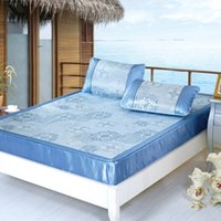Wholesale Chinese heart Blue Summer bed mat pillow sent king double icy jacquard fitted models Mat rattan seats mats linen bedspreads