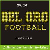 Wholesale Hot fix iron on garment DEL ORO Football topaz rhinestone custom transfer for garment