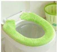 Wholesale B087 Japanese Bathroom Furniture Solid Buckle Plush Ride type Thermal Adhesive Toilet Set Toilet Mat