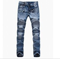 Wholesale Men s Foreign Trade Light Blue Jeans Pants Balmain Motorcycle Pants Men washing Slim Fit Fold Jeans