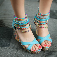 beaded zipper sandal - Bohemia Folk Style Fashion Shoes Wedges High heeled Sandals Zipper Beaded Women Rome Sandal Shoes