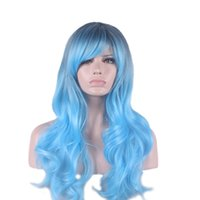 beautiful roots - beautiful women long hair wigs synthetic african american wigs heat resistant wig cosplay black root ombre sky blue wig curly