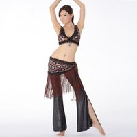 Cheap Sequin Belly Dance Training Clothes 3-piece Sexy Lace Crop Tops Adjustable Fit, Hip Belt Tassel and Pants Women Tribal Costume