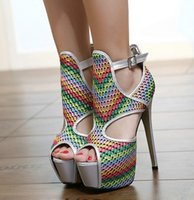 american careers - 2016 new European and American fashion mixed colors fish head high with sandals sexy shoes nightclub women dress shoes