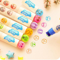 Wholesale High Quality Cute Expression Stamp Seal Pen Marker Pen Watercolor Pen Children s toys Pen School Tools Material Escolar Papelaria