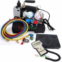 ac hydraulic - R134A R12 MANIFOLD GAUGE SET Digital SCALE HVAC A C REFRIGERANT AC KIT W VACUUM PUMP