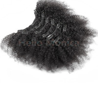 Wholesale African American Clip in Human Hair extension Full Head A Brazilian Human Hair afro Kinky Curly Clip in extension black women