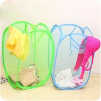 Wholesale Folding Foldable Nylon Mesh Dirty Laundry Basket Washing Soiled Clothes Neatening Baby Toys Storage Baskets Organizer