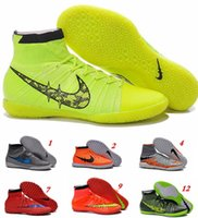 Wholesale 2016 original Mercurial Superfly Blue CR7 TF Kids Soccer Shoes II FG SOCCER Cleats High Ankle Indoor Football Boots US6