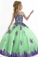 Wholesale 2016 RACHEL ALLAN Ball gown Princess Little Girls Pageant Dresses Jewel neckline Sheer Zipper Appliques LaceFlower girls Dress with HY682