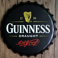Wholesale 40CM Retro Bottle Cap Metal Plaque Shabby Chic Tin Signs Coffee Bar Wall Decorative Plates Poster Art Painting