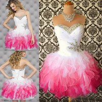 beautiful dresses for prom - Beautiful New Multi Colored Cocktail Homecoming Dresses Sweetheart Ruffle Beaded Short Prom Graduation Dresses Dress for College Party