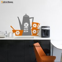art mugs - Tea Pot and Mugs Wall Sticker Removeable Beautiful Floweres Creative Decal Mural Wallpaper For Kitchen Home Decoration