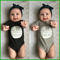 baby boy decorations - Newborn baby boys girls rompers bodysuits black grey colors avaialble letter decoration infant one pieces sets via epacket