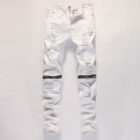 Wholesale new white men s casual jeans big hole in knee pants zipper jeans fashion jeans and comfortable