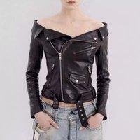 Wholesale fashion Ladies European station Strapless collar PU leather motorcycle clothing coat