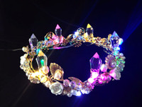 artificial flowers feather - New luminous Wedding Crowns Bridal Crystal Veil Tiara Crown Headband Hair Accessories Party Wedding Tiara LED lamp Multi Twinkle