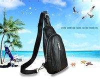 Wholesale 2016 new chest pockets Messenger bag man bag leather cowhide casual Messenger bag chest