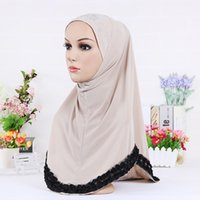 Wholesale 10 color Hot sale Muslim hijabs new headscarves wrapped head scarf rose side soft skull scarf under cover