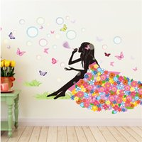 Wholesale 132x88cm Flower Fairy Girl Wall Stickers for Kids Rooms Living Room Home Decor Wall Decor Decoration Mural Art