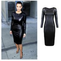 Wholesale Sexy Black Night Out Club Gowns Winter Kim Kardashian Women Dresses Vestidos Mujer Sheath Long Sleeve Bodycon Pencil Dresses FS0715